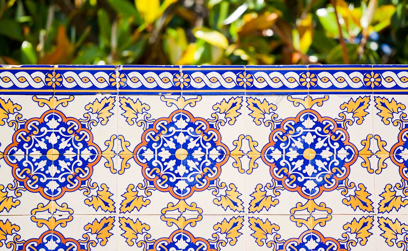 Azulejos Tiles Arrange On Garden Wall