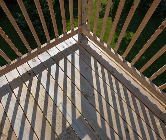 Basic wooden deck with wooden balustrade