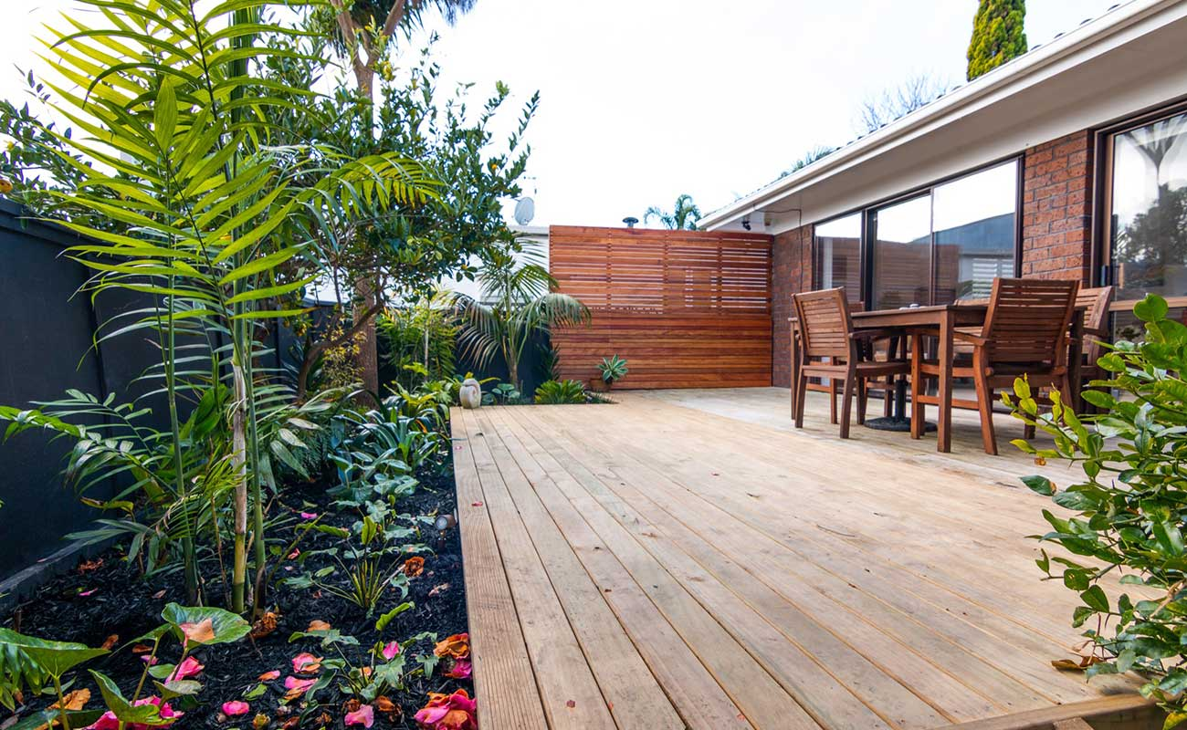 Dining area in Auckland Landscaping backyard