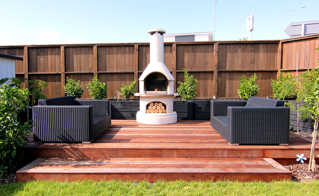 Deck with seating and outdoor gas fireplace
