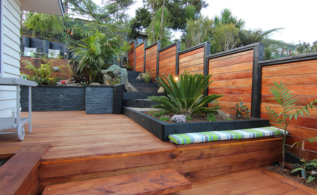 Make better use of a steep garden zones for Landscape design christchurch nz