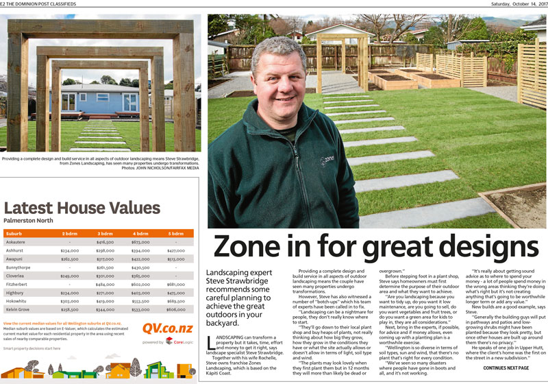 Zones Landscaping Featured in Dominion Post
