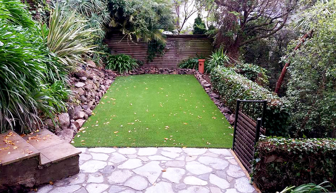 a backyard with new lawn