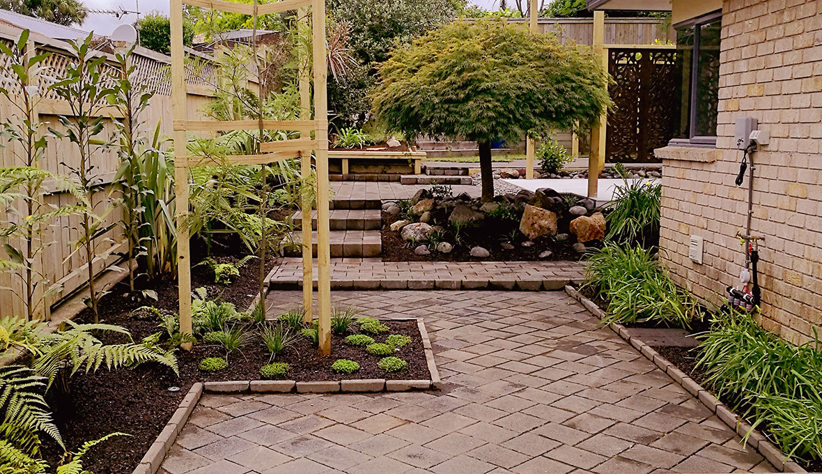 A backyard makeover with new paving stone