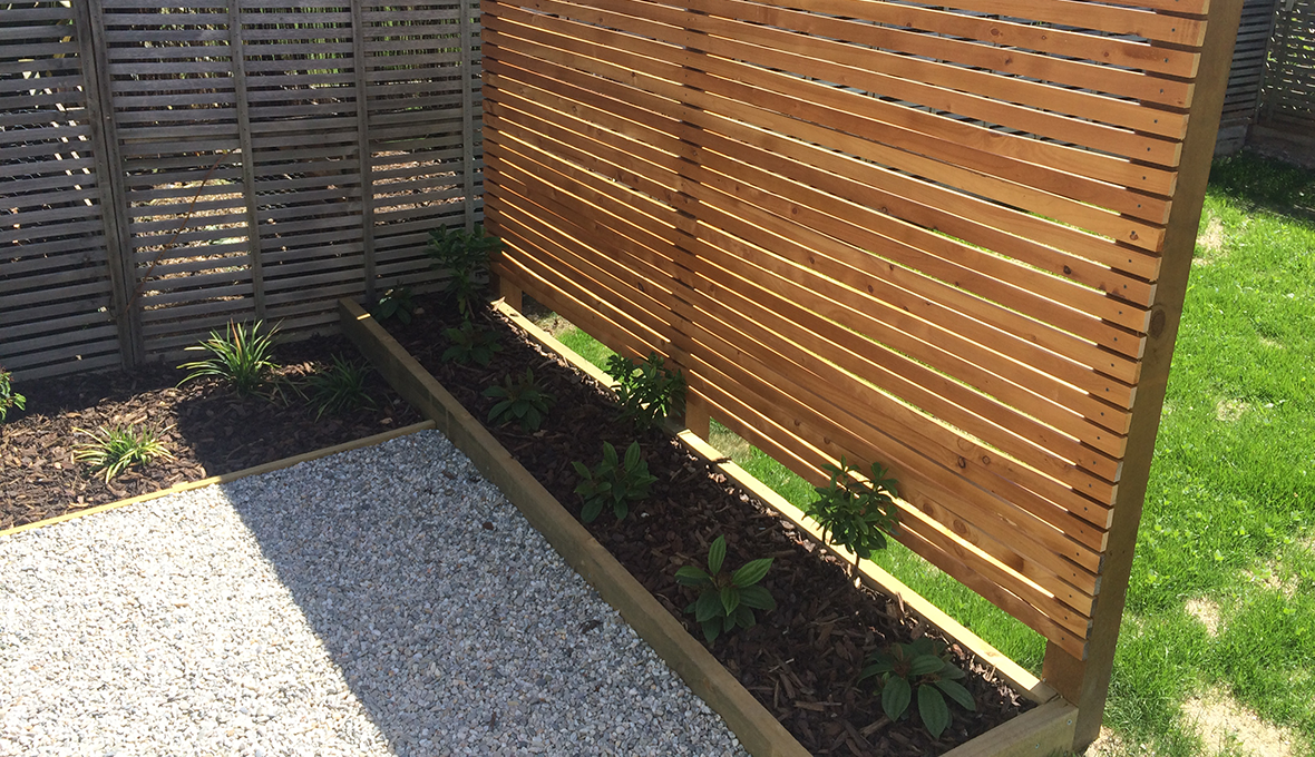 Privacy screen with herb planter box