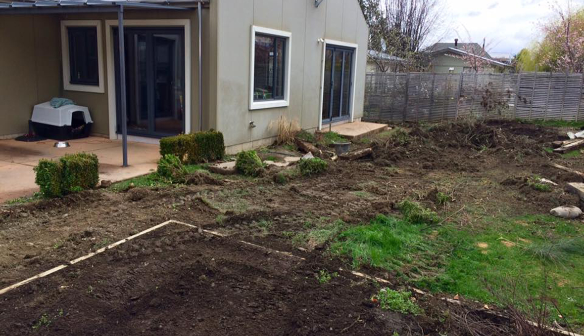 Work begins on a landscaping project in Arrowtown