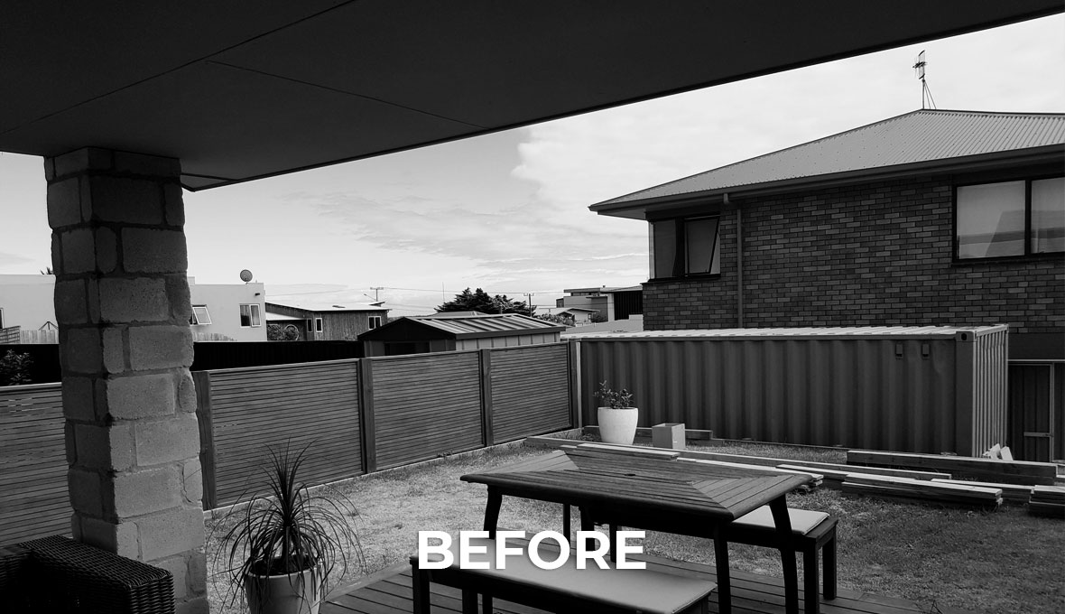 Before image of outdoor area in Papamoa