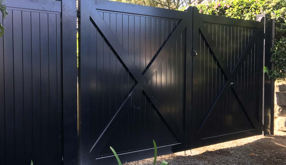 New black modern fence installation