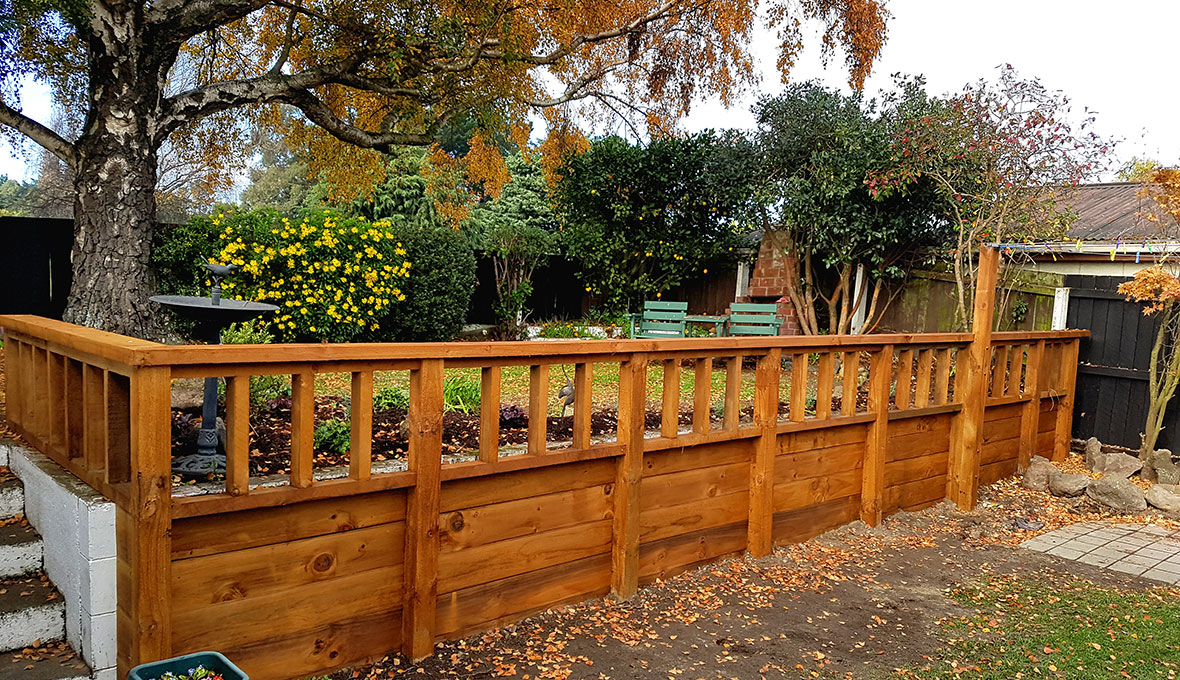 A new wooden retaining wall