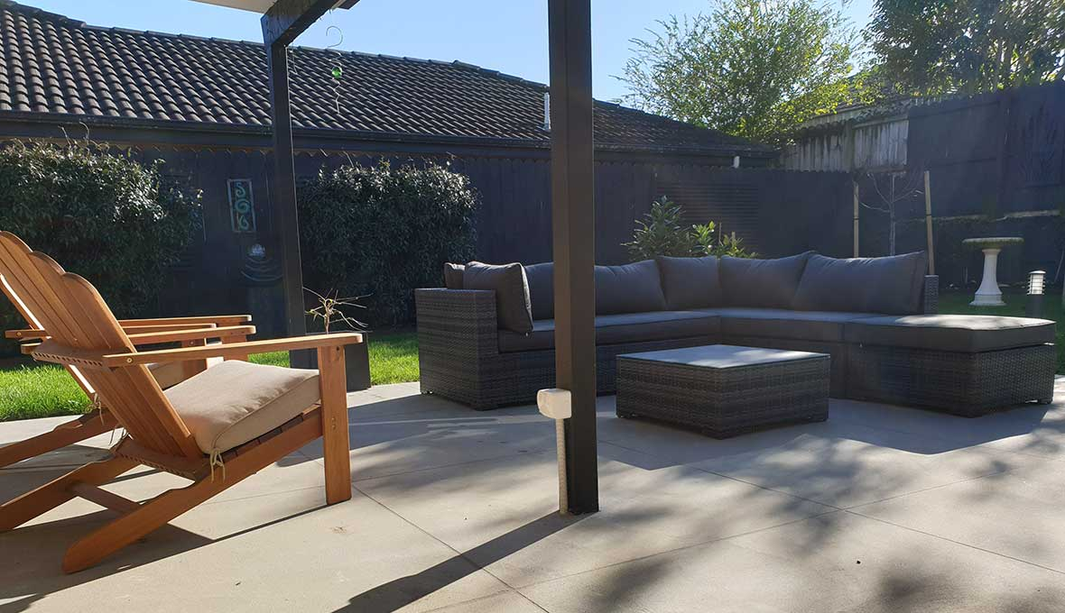 Paved outdoor patio project in Hendorson completed by Zones Landscaping