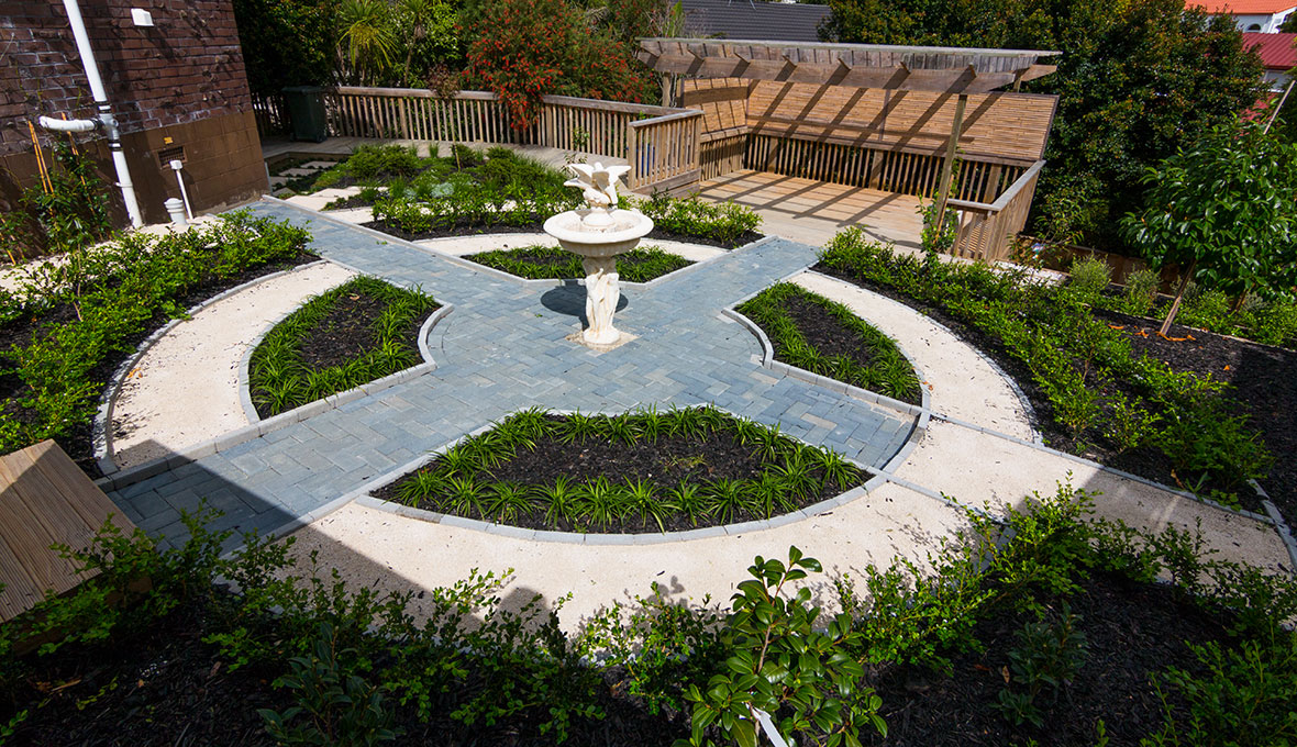 A look-down view of a make-over garden by feng shui influence design.