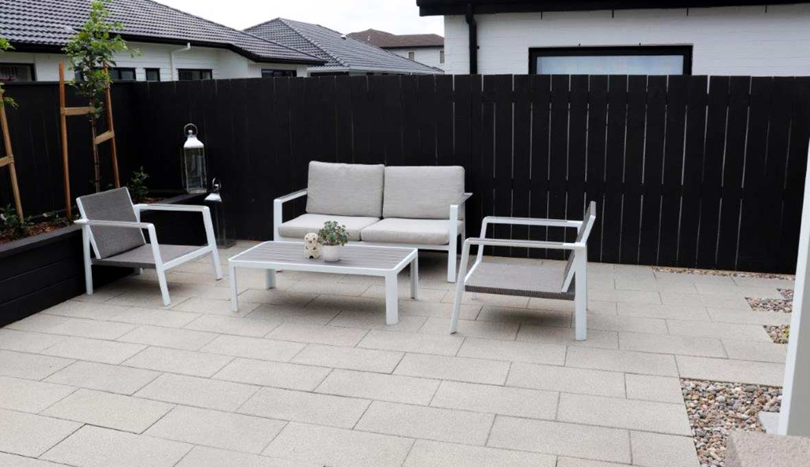 Modern pavers and outdoor area