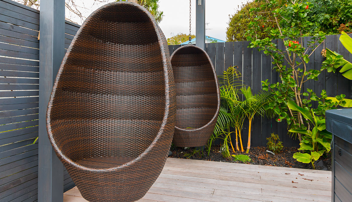 A creative outdoor seating