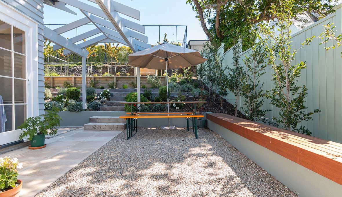 stone garden for an Auckland house that has been landscaped