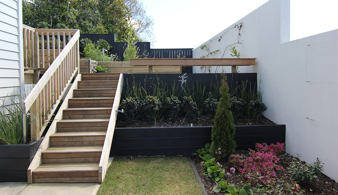 Zones landscaping remuera edible garden deck stairs