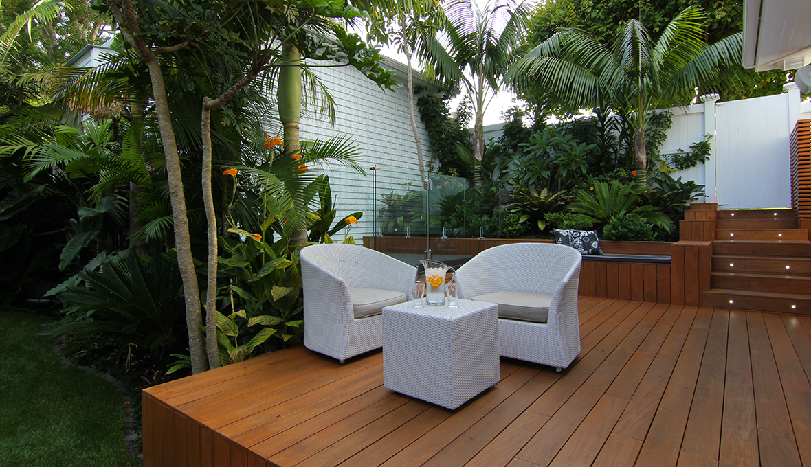 Zones landscaping subtropical plants deck seating