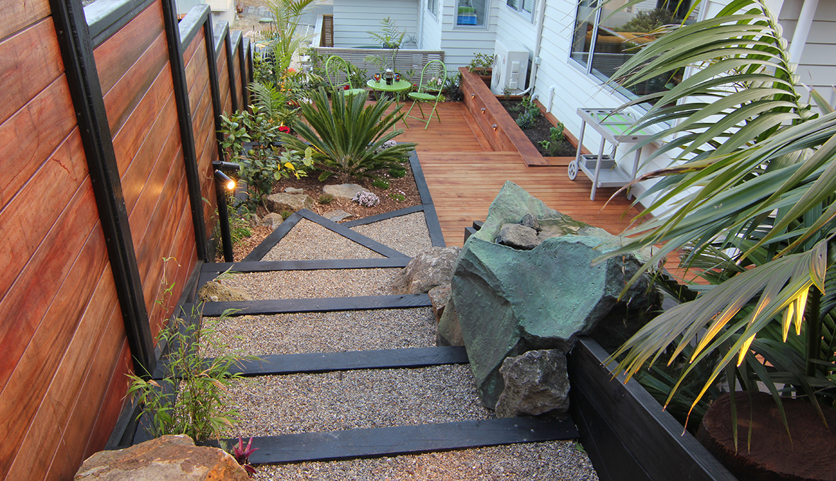 Zones landscaping titirangi entertainment extravanganza stone gravel steps