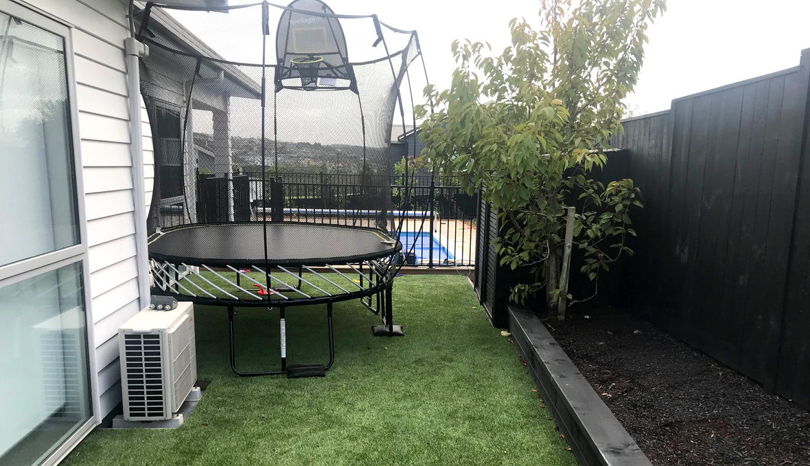 New lawn with trampoline