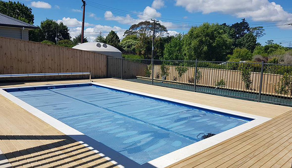 Finished swimming pool and deck in Kaukapaka