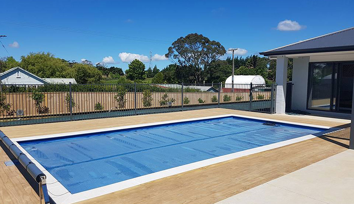 Swimming pool with a cover
