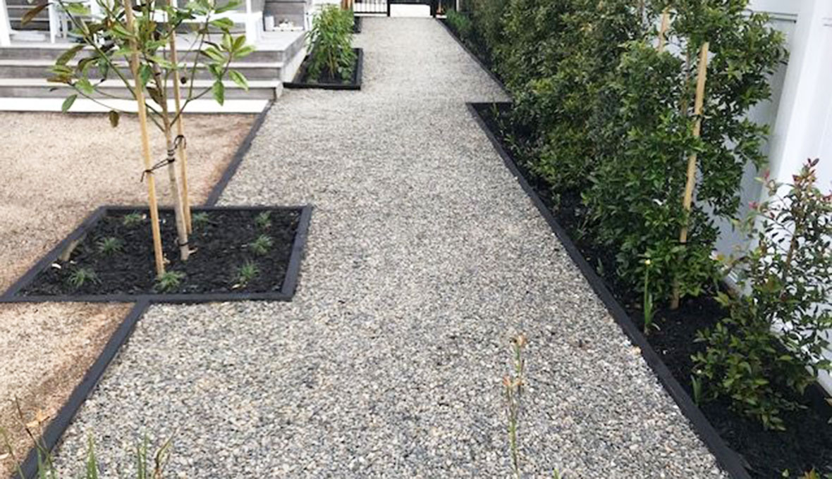 gravel path of the yard in riverhead, auckland
