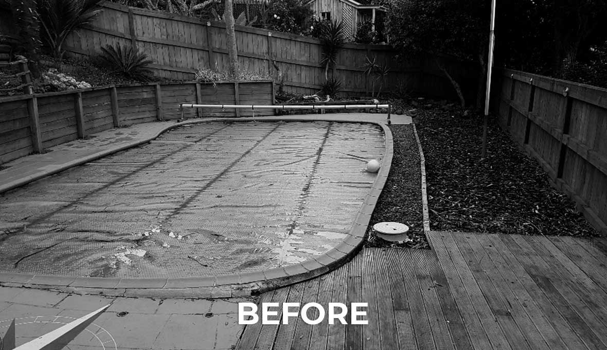 before image of Pool area and deck restoration by Zones Landscaping North Shore