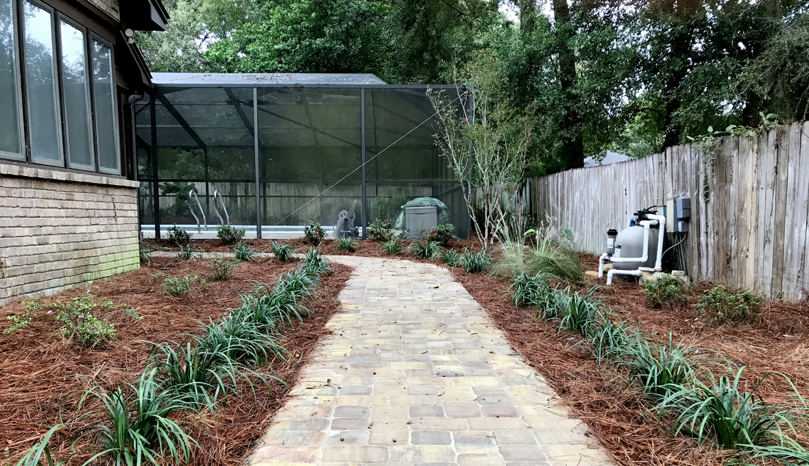 Pool pathway garden maintenance