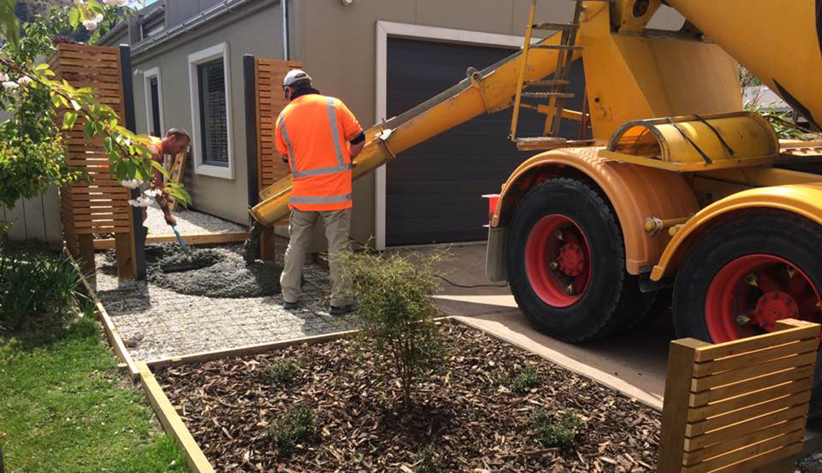 pouring a concrete path in Queenstown