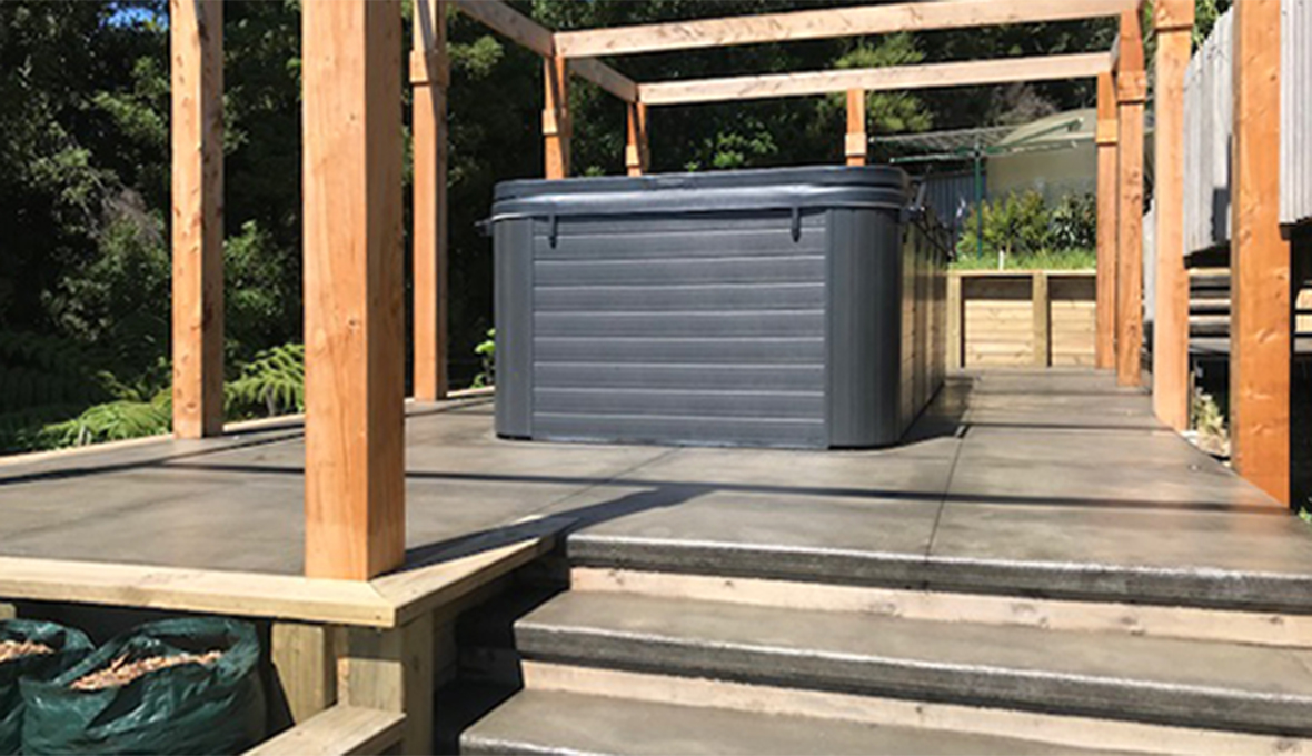 finished deck area with swim spa