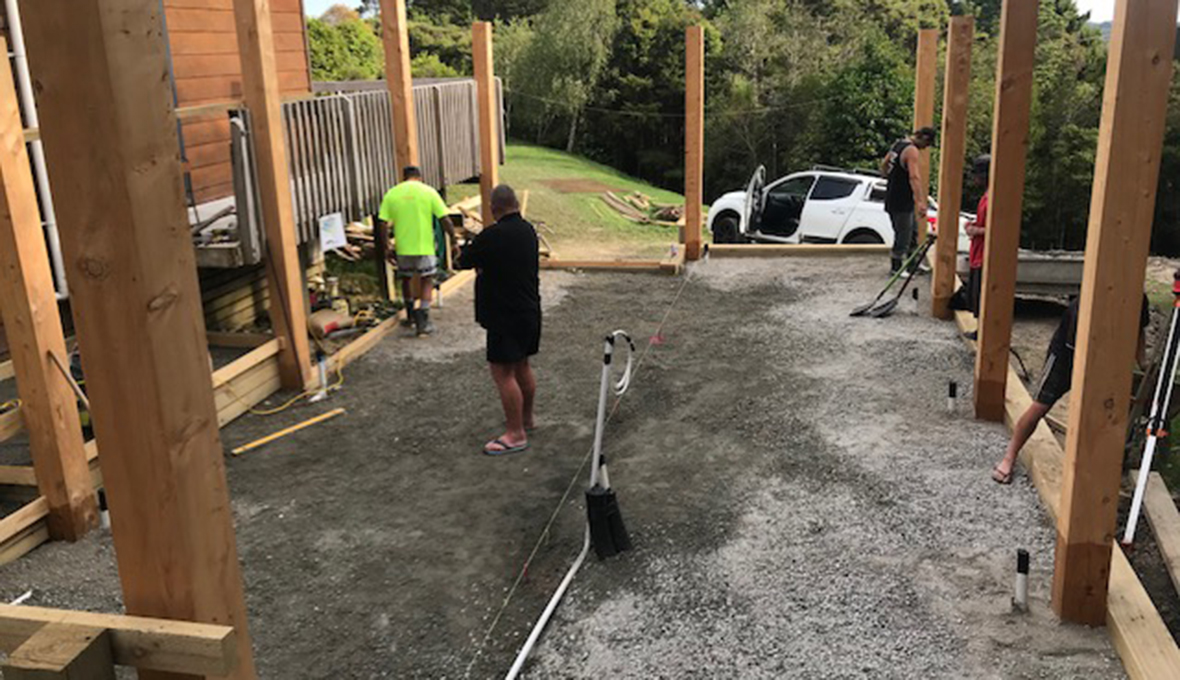 pergola and deck area work in progress in wainui