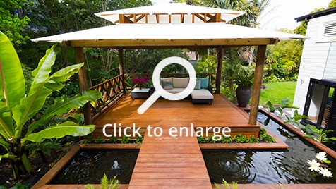 Zones landscaping Asian inspired pergola with surrounding water