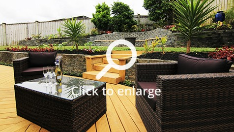 Modern black lounge furniture makes for a stylish outdoor area