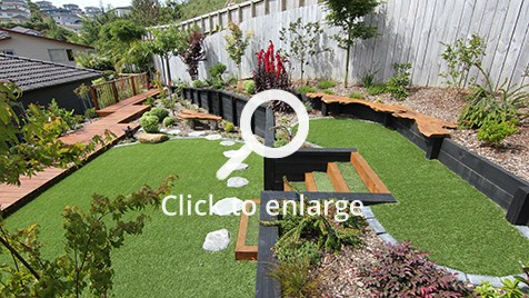 Multi-level Zen garden landscaped and designed by Zones landscaping