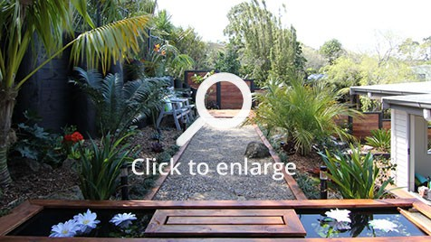 Zones landscaping titirangi entertainment extravanganza petanque court fish pond