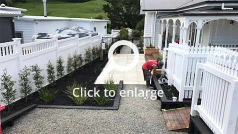 Tiles and planting in the yard in riverhead, auckland