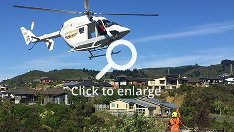 Helicopter transferring a fireplace in Wellington
