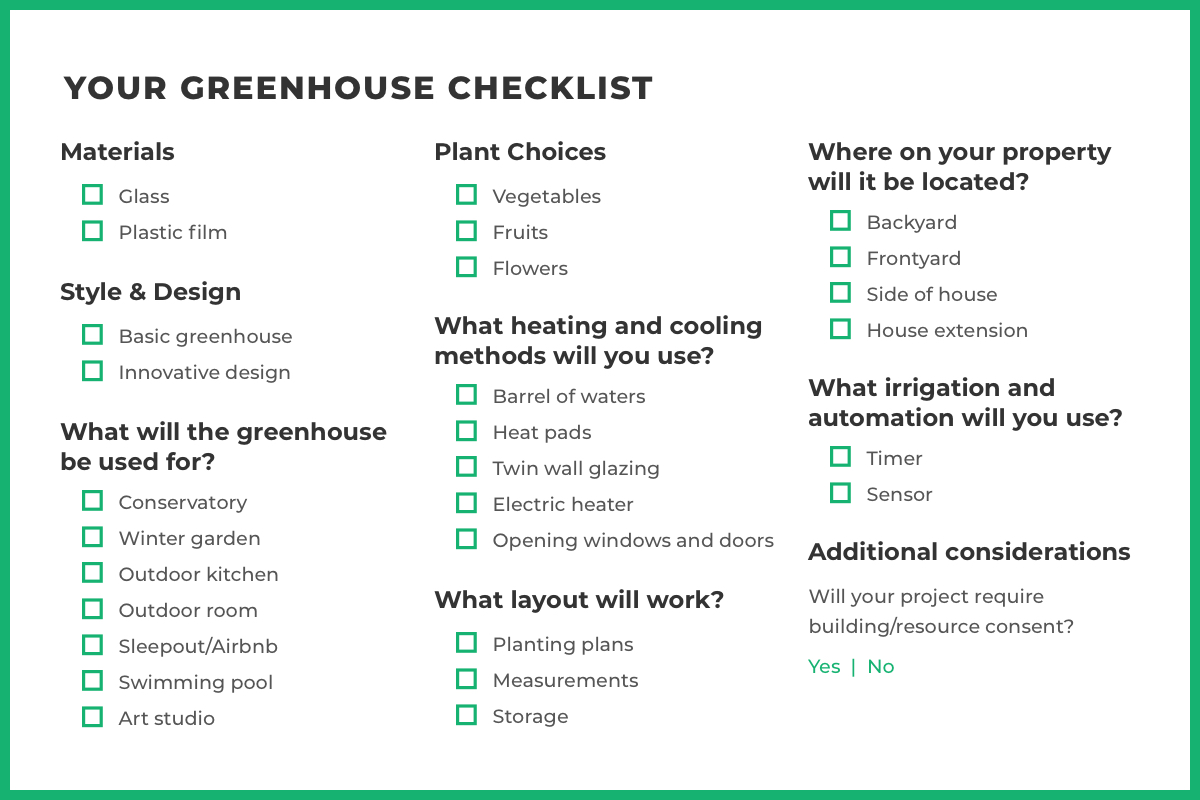 greenhouse Checklist