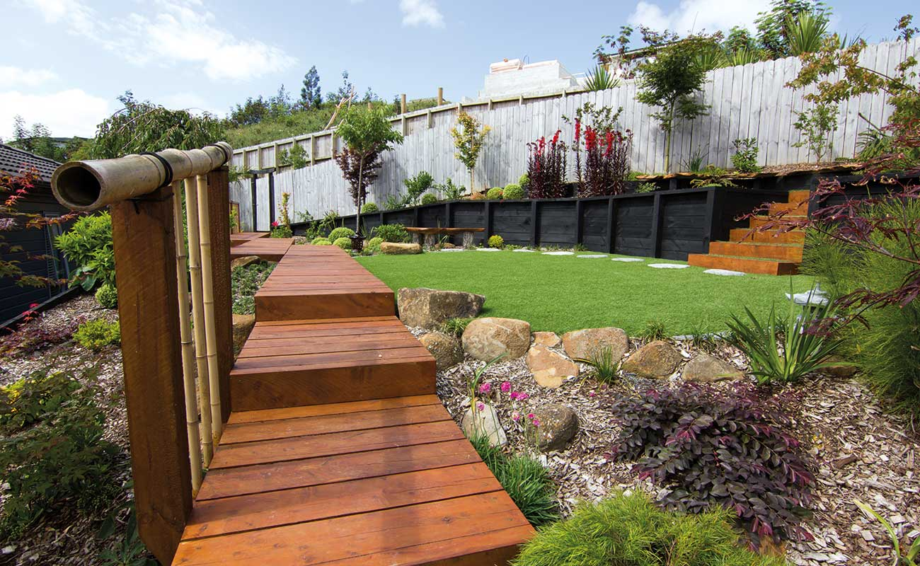 A landscape design with wooden steps