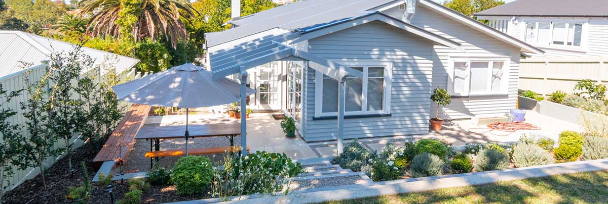 landscaping with planting and pergola for an Auckland house