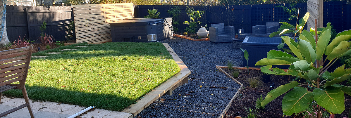 Revamped backyard entertainment space