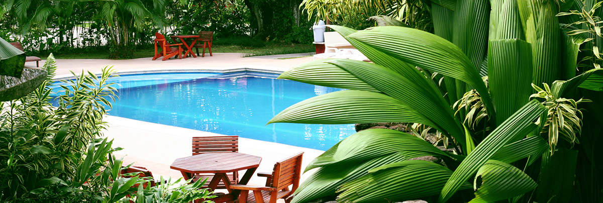 View of a very private pool with outdoor furniture and surrounded by tropical planting