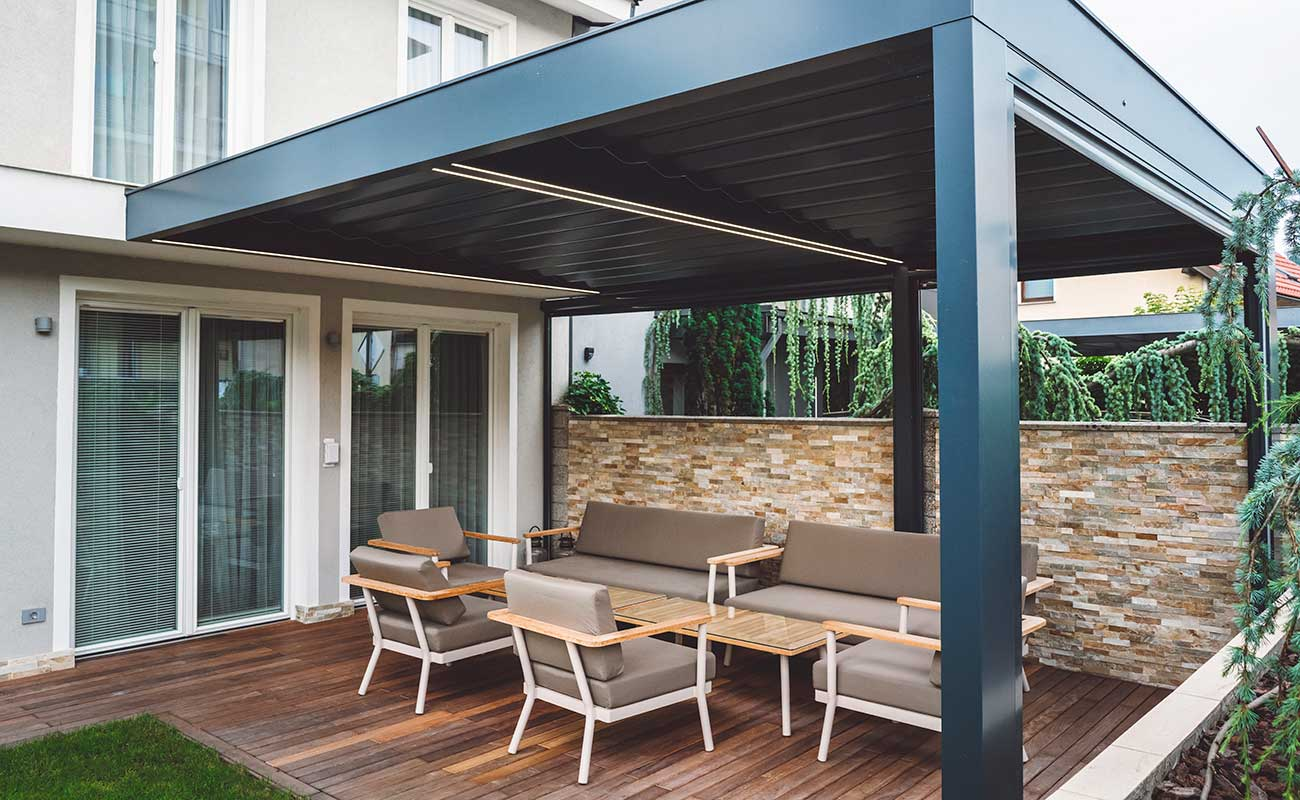 outdoor covered area with furniture