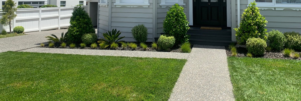 Landscaped lawn and garden