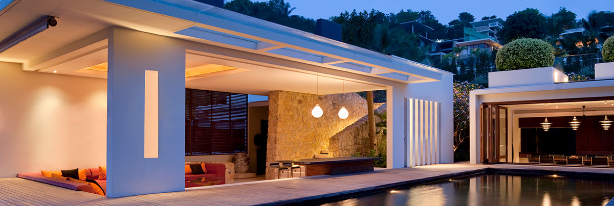 A luxury house with outdoor lighting