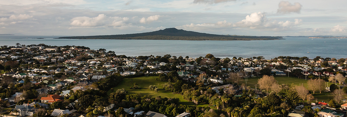 An aerial view of Rangitoto Island from the North Shore
