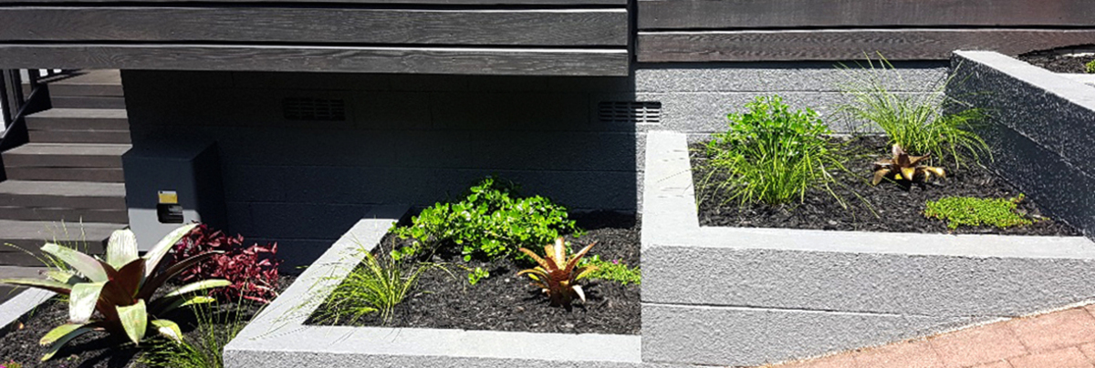 Raised plant beds on slope