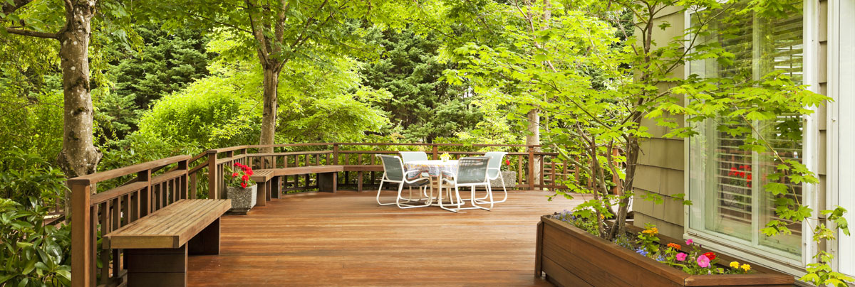 backyard deck in the spring