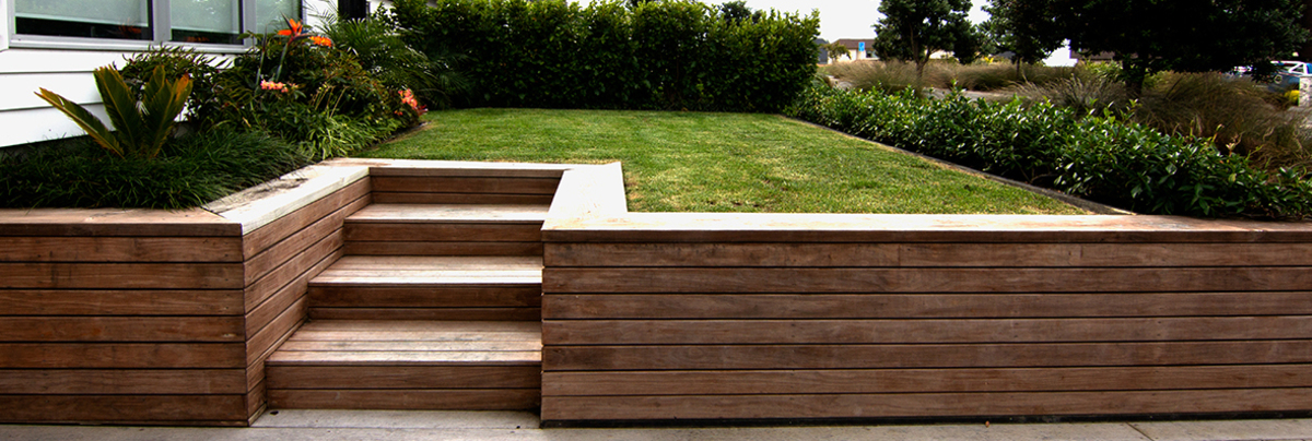 Landscaped steps and lawn