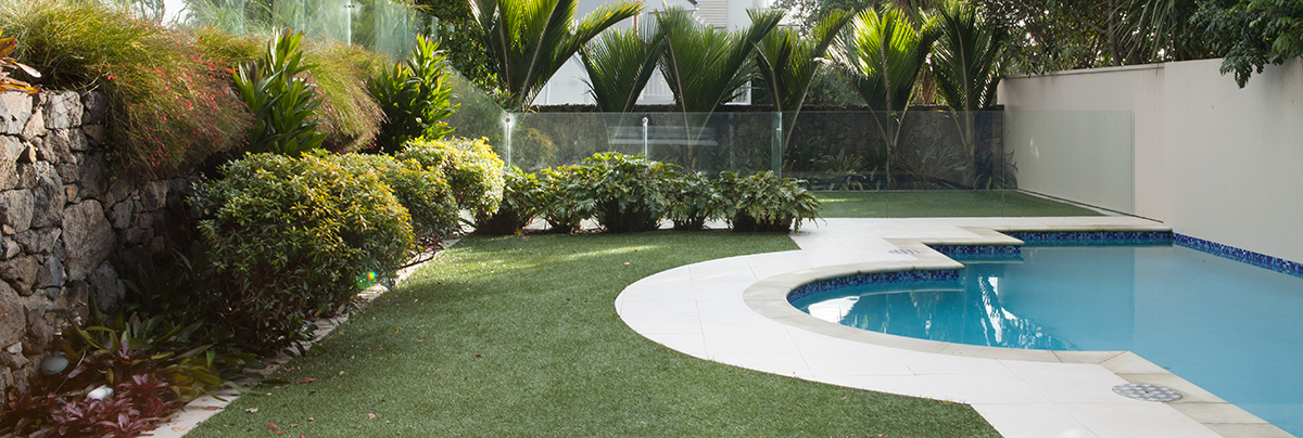 A landscape design with small part of swimming pool