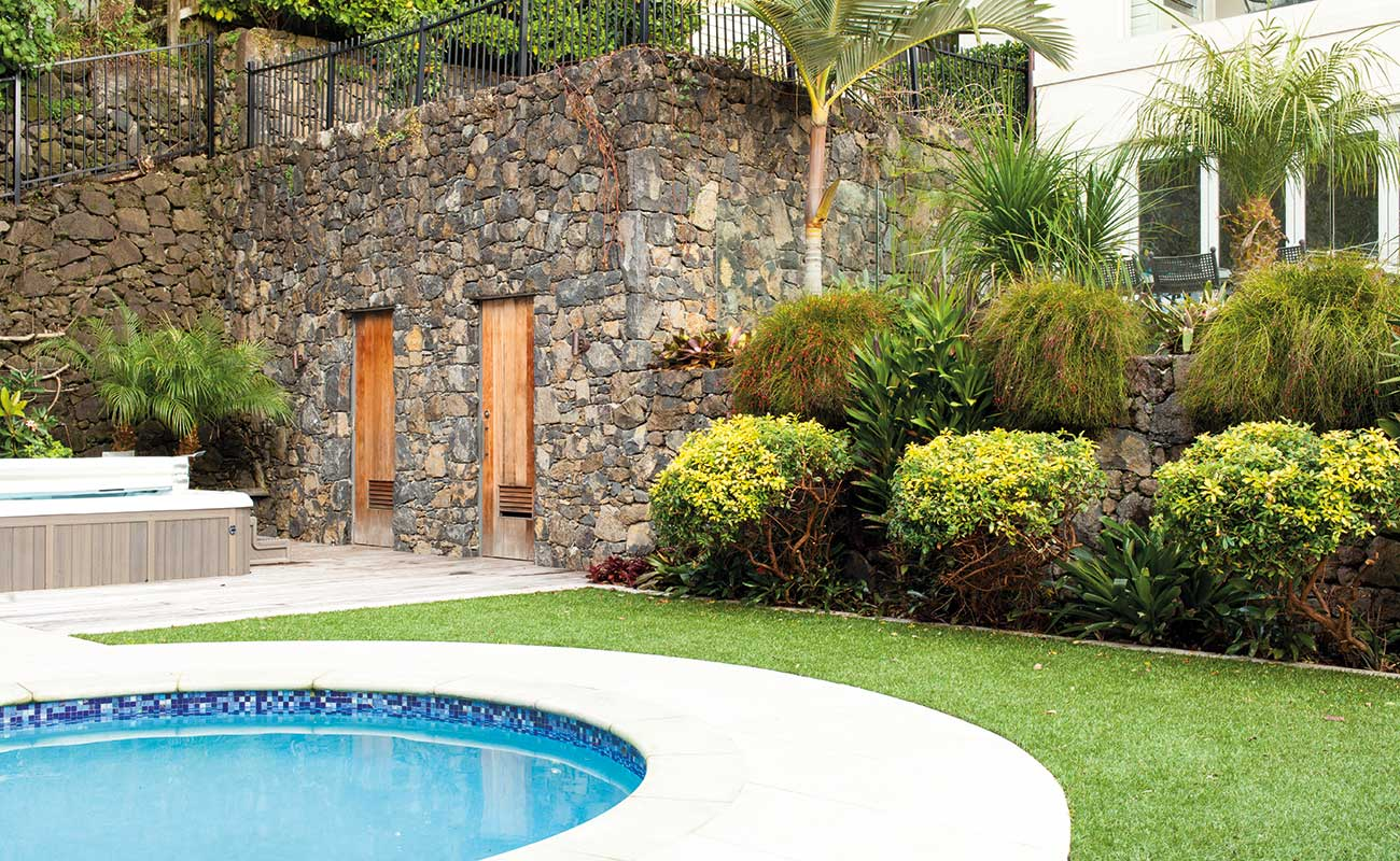 A back yard view with small part of swimming pool